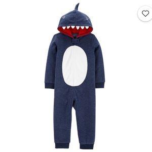 Carter's Hooded Fleece Footless PJs Shark